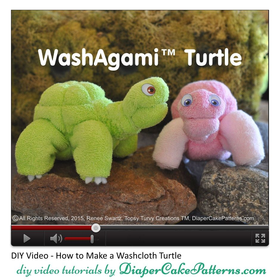 how to make a washcloth turtle or sea turtle video