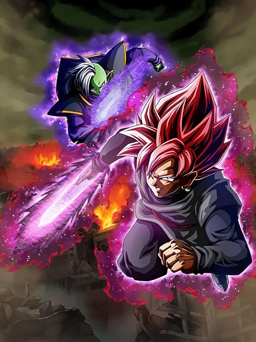 Super Saiyan Rose Goku Black Zamasu Lr Dokkan Battle Wallpaper In
