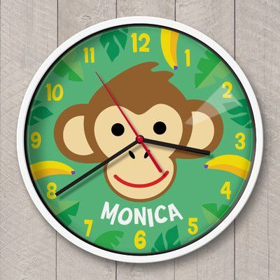 Olive Kids 12 Monkeys Personalized Wall Clock Color Personalized Wall Clock Olive Kids Personalized Wall