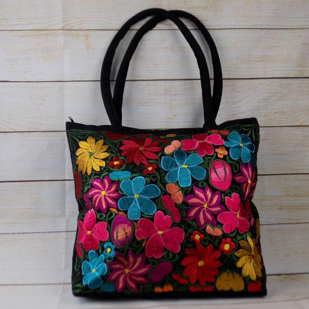 Women S Handmade Fl Embroidered Mexican Purse Handbag Tote Bag Gift For Her Handbagpursetotebag