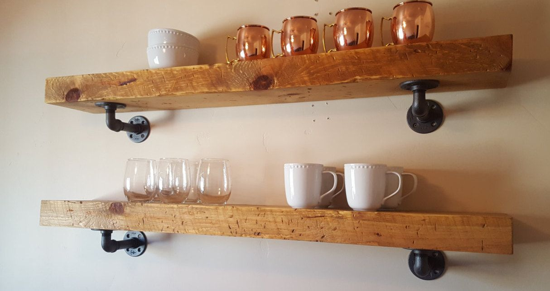 Industrial Urban Pipe Wood Wall Shelf Solid Wood /& Metal Pipe Shelf Dark Chunky