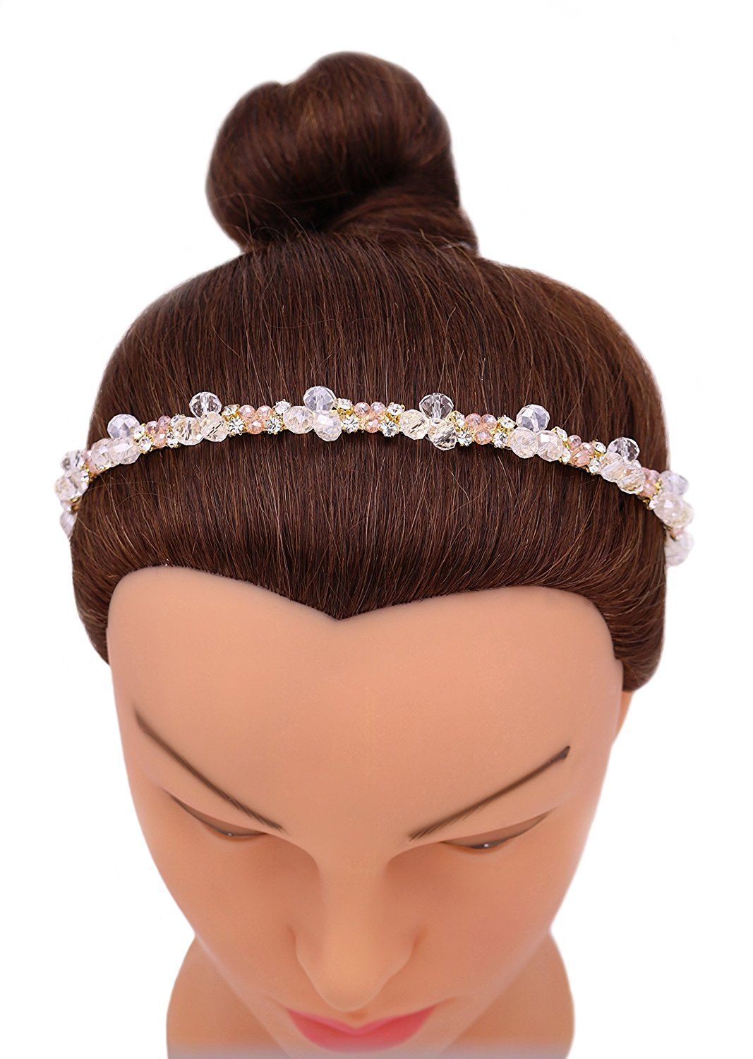 iHome Fusion Swarovski Crystal And Cluster Headband Bridal Headband Hairdress Hair Band Hair Hoop (Peach) -- Continue to the product at the image link.
