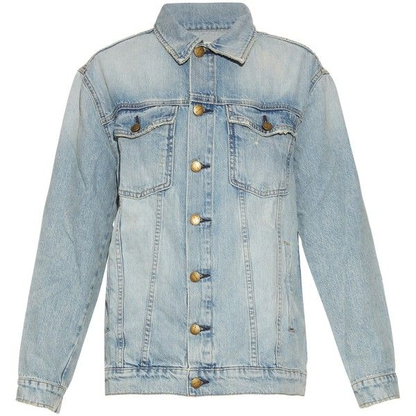 Current/Elliott The Oversized Trucker denim jacket ($388) ❤ liked on Polyvore featuring outerwear, jackets, light denim, blue jackets, floral jacket, floral denim jacket, floral print jacket and oversized jacket