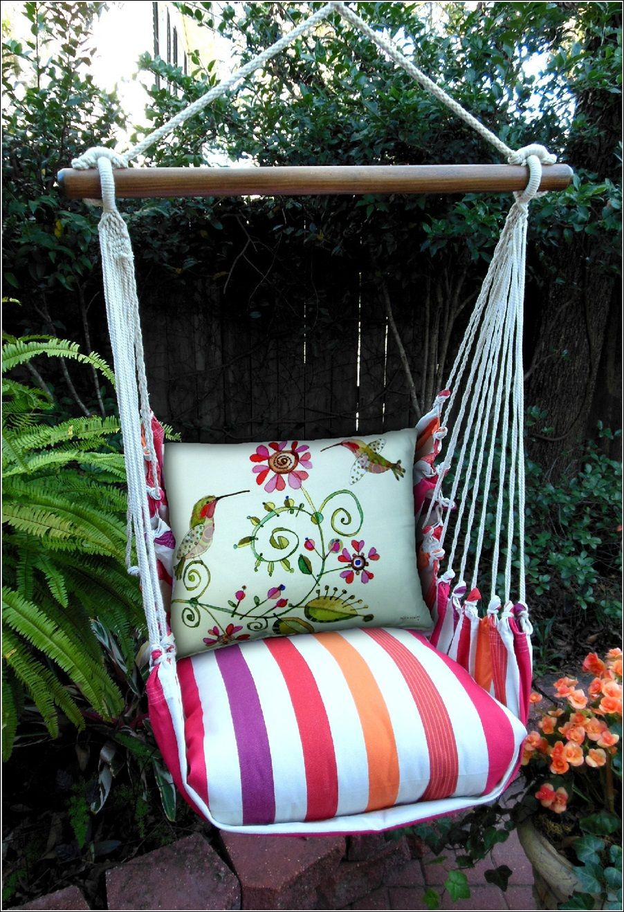 Hammock pillow seats with exquisite prints for your garden