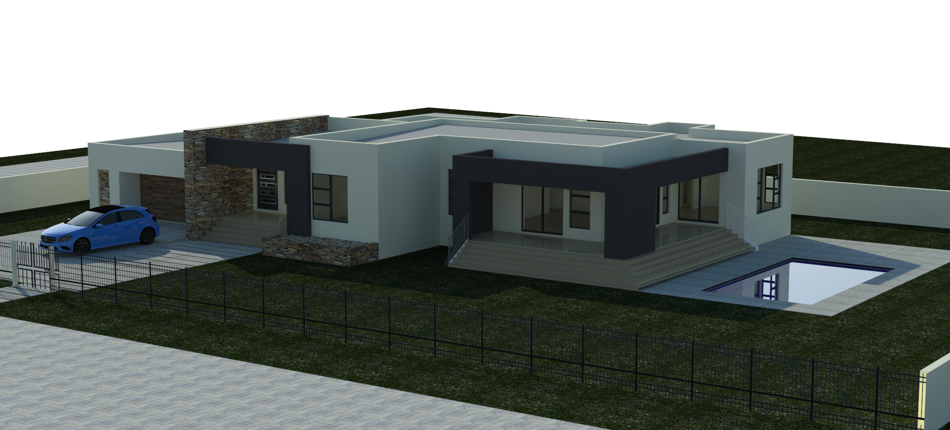 Modern Designed House Plan Boasting Full Master Bedrooms With Shower Open Plan With Scullery Double Garage