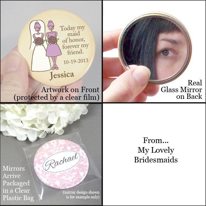 Pocket Mirror - Bridesmaid Gifts - Weddings - Bridal Party Favors. $4.00, via Etsy.