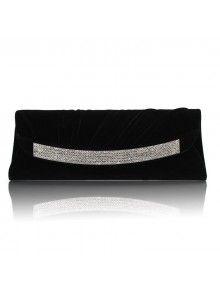 Velvet Shell Evening Handbag with Diamonds H-6465