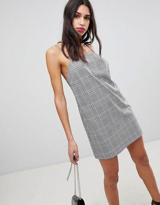 e67d1226b799ac DESIGN Mini Check Square Neck Cami Dress
