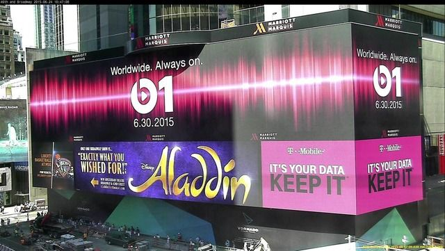 Apple Puts Up Giant Billboard in Times Square Advertising Beats 1 - spreadsheet apple