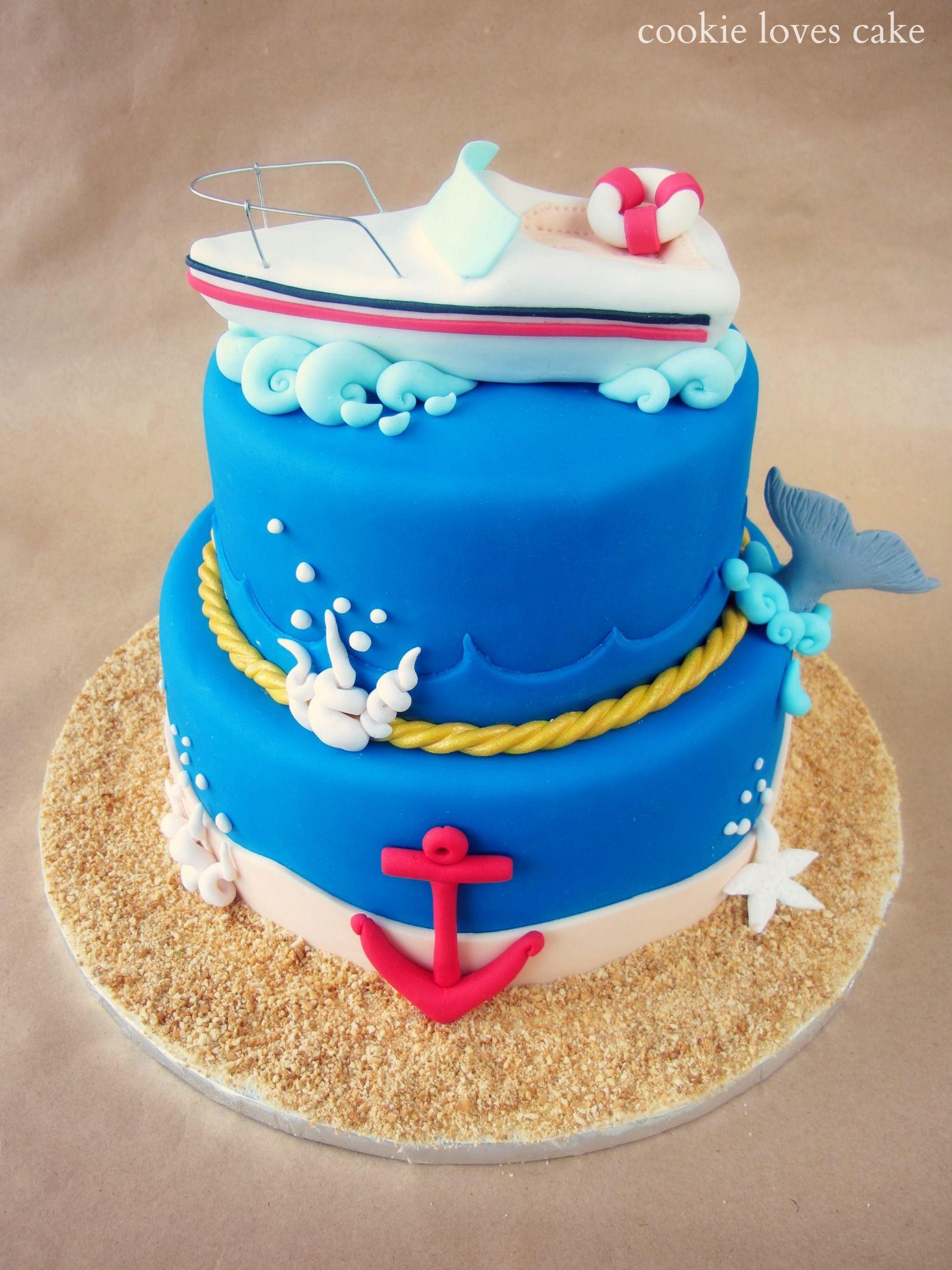 Tarta de cumpleaos marinera Boat cake His cake Pinterest