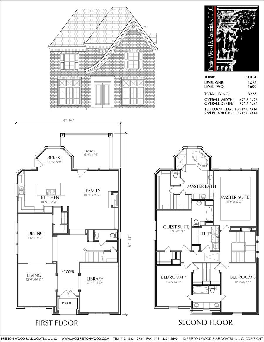 Two Story New Houses Custom Small Home Design Plans Affordable Floor Preston Wood Associate Two Story House Plans Home Design Plans House Plans One Story