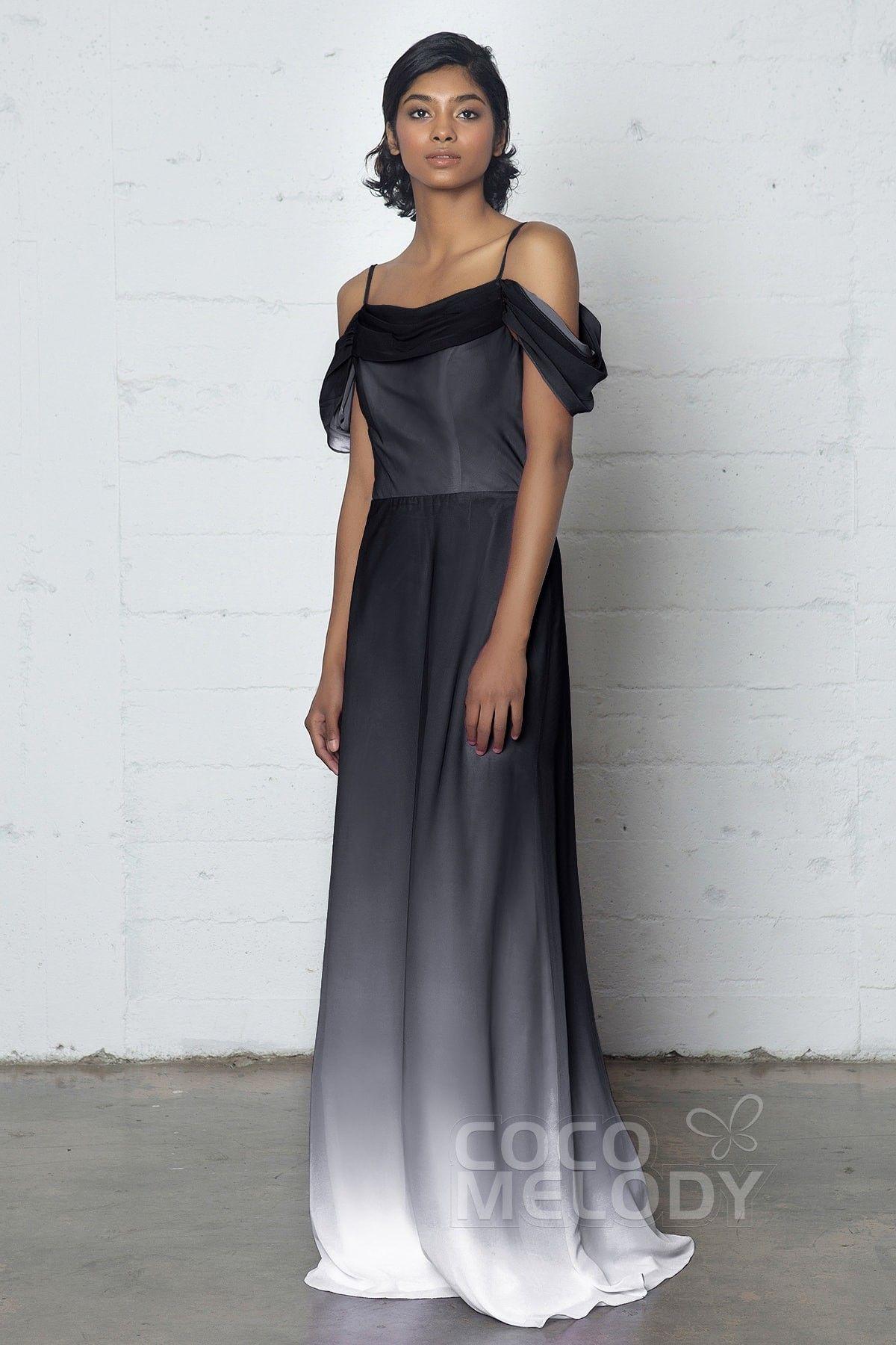 Elegant Sheath-Column Cowl Natural Floor Length Ombre Chiffon Sleeveless Zipper COZF17012Cocomelody#prom dress#party#dresses#