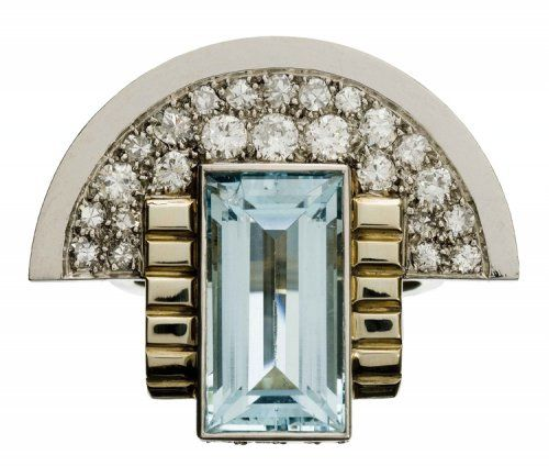 Art deco jewelry repeats the same themes seen in art deco architecture and furniture