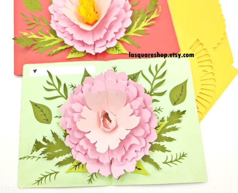 3d Pop Up Greeting Card Diy Flower Pop Up Card Printable Etsy Pop Up Card Templates Greeting Cards Handmade Paper Flower Template