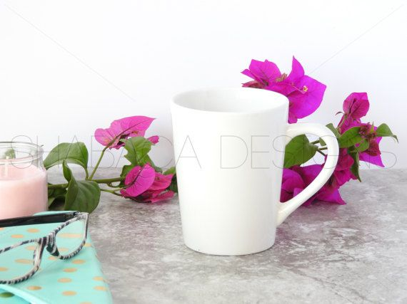 Coffee Mug Styled Stock Photo Feminine Office Styled Blank White