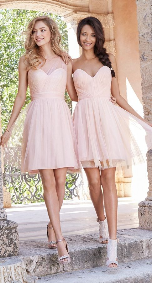 adbc236680 Blush Pink Bridesmaid Dresses 2016 Short One Shoulder Tulle Wedding Guest  Gowns Mini Sweetheart Ruched Simple Dress For Girls