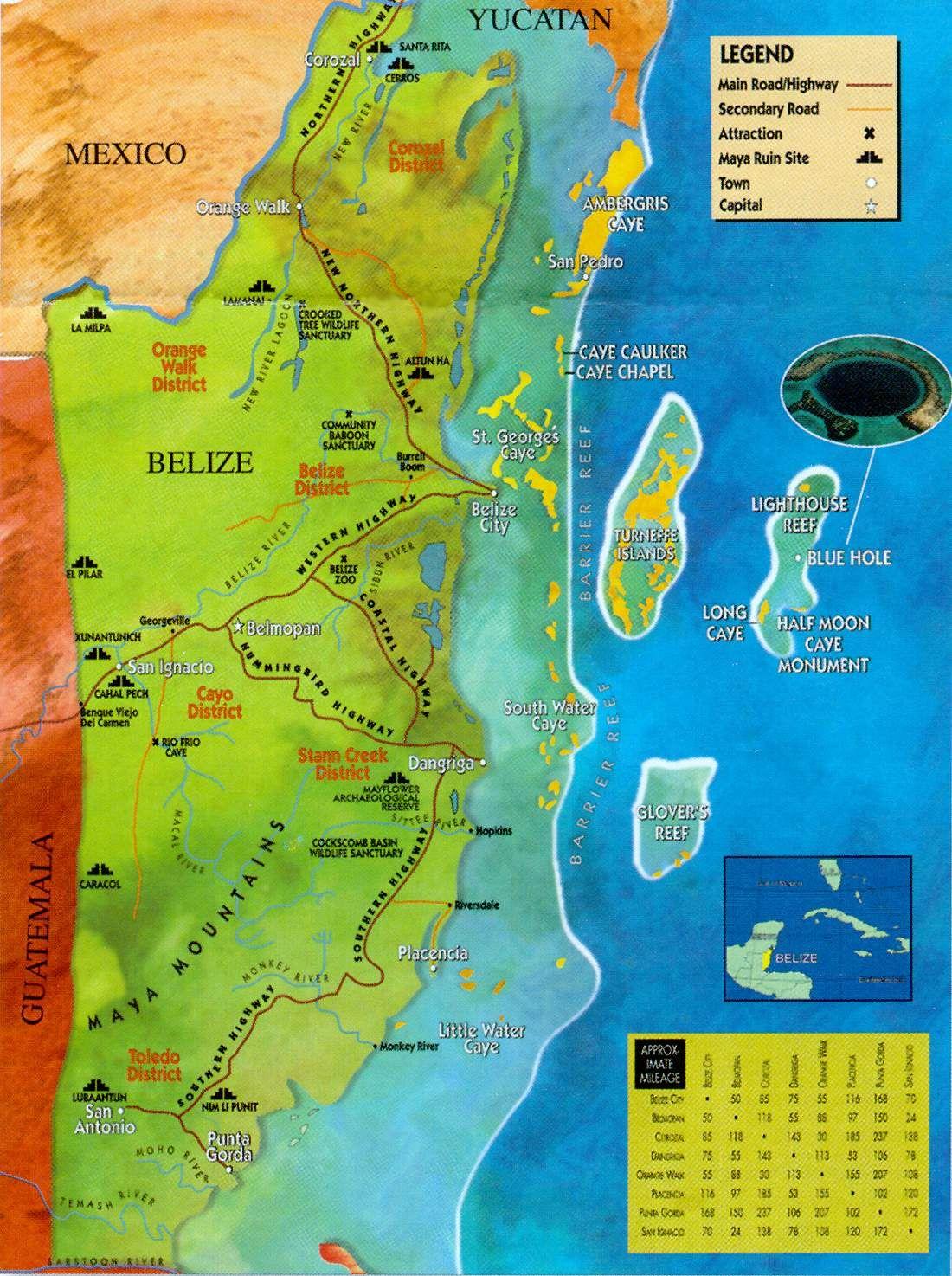 Belize Zoo And Ruins Map Of Belize Places Pinterest Belize - Belize tourist map