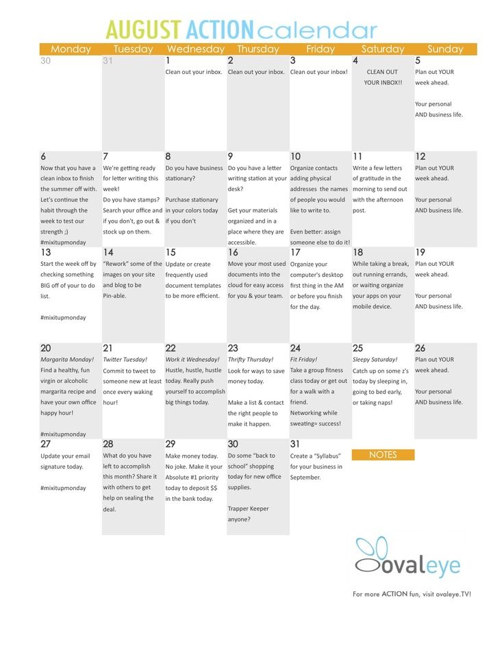printable home based business action calendar for august smallbiz