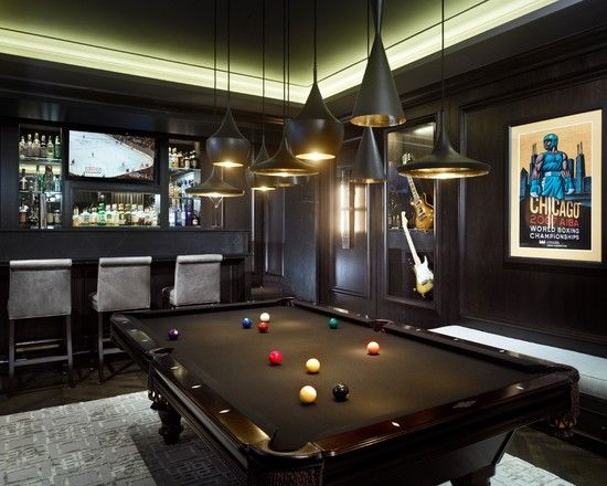 Exceptionnel Awesome Pool Table Decorations Ideas: Contemporary Black Pool Table Room  Decor ~ Dropddesign.com