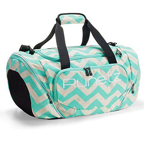 fcd5774eb3 Runetz - Chevron Hot TEAL Blue Gym Bag Athletic Sport Shoulder Bag for Men   amp