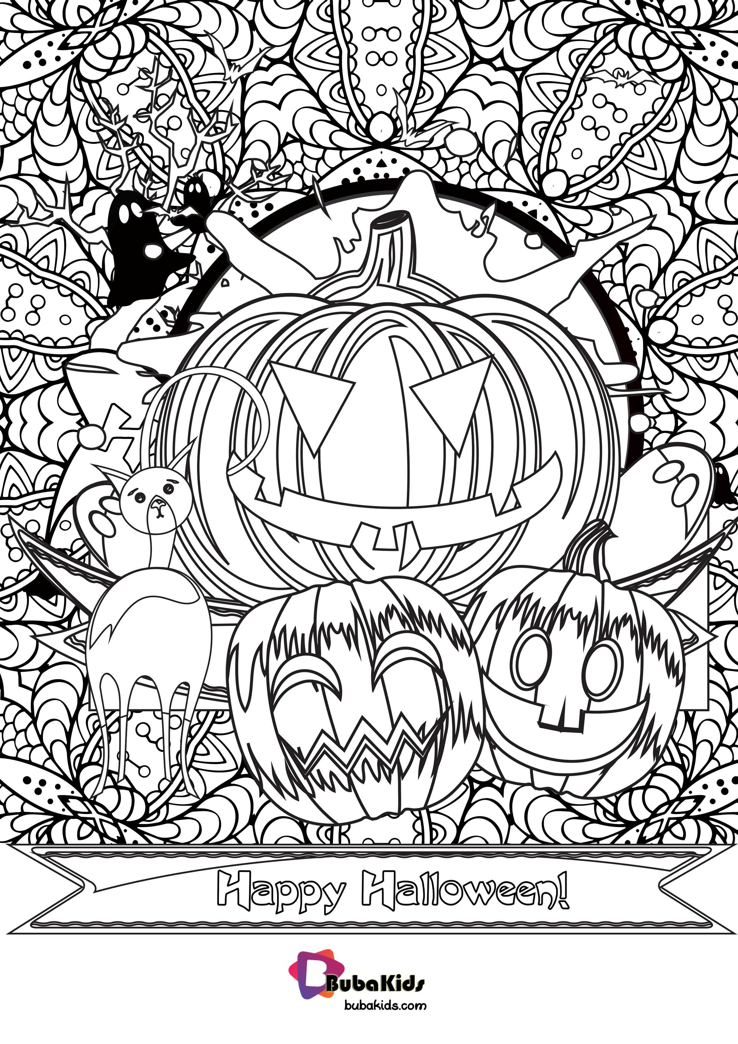 Happy Halloween Pumpkin and Cat Coloring Page   Cartoon ...