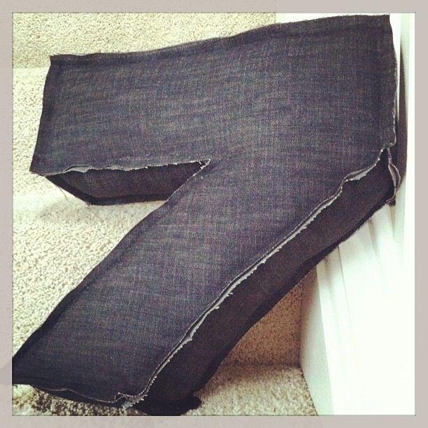 "Oversized ""7"" jean pillow with rough edges. 15h x 14w x 4d"