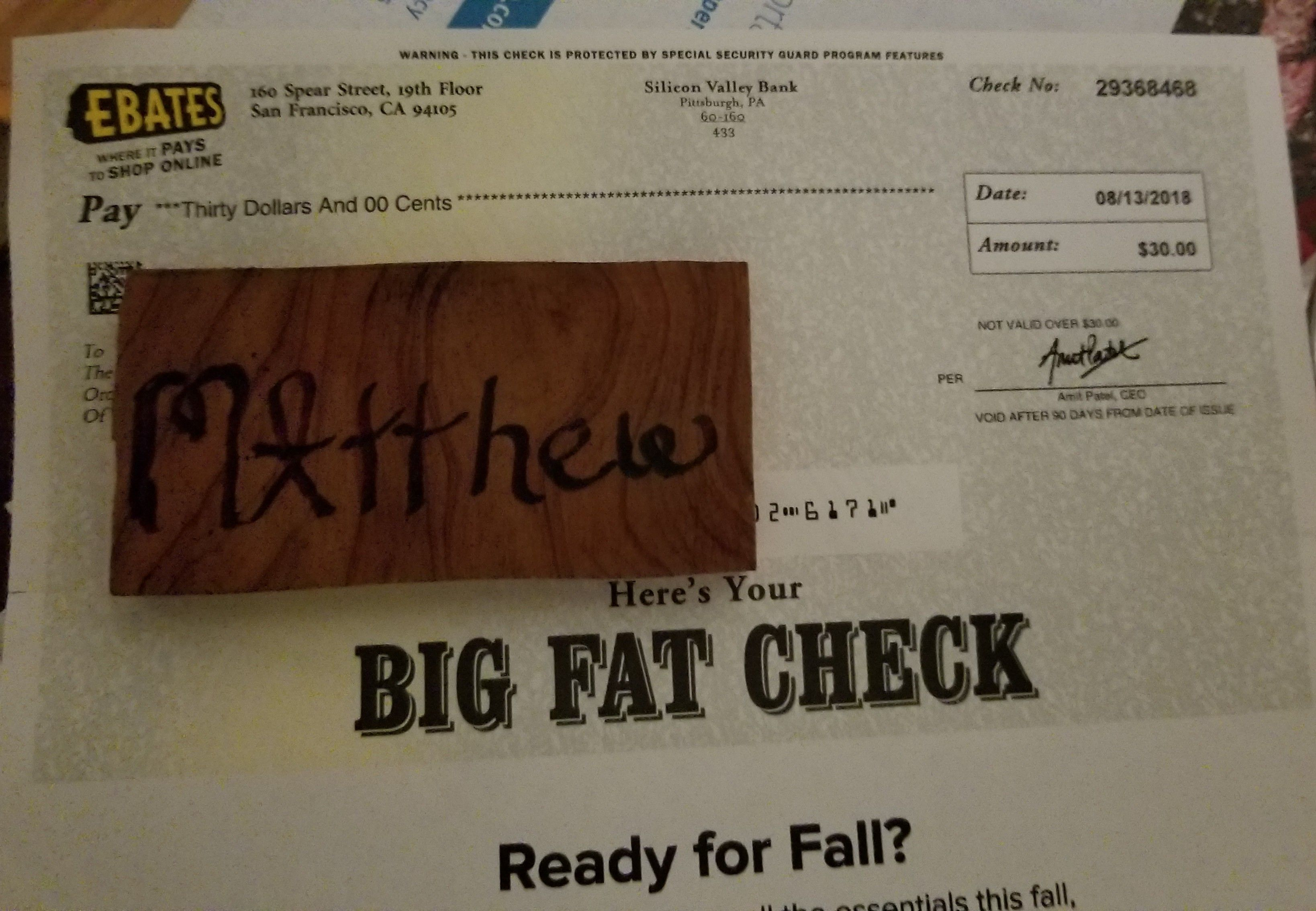 I just got my BigFatCheck from Ebates! With my online