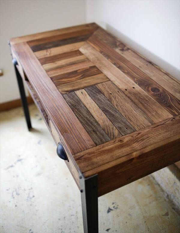 unique diy furniture. Beautiful Diy Beautiful Pallet Desk With A Unique Pattern And Stained To Bring Out The  Different Textures Grains Intended Unique Diy Furniture