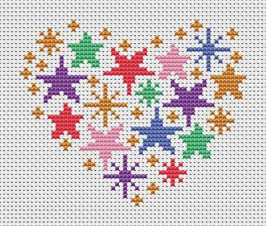 Geometric Heart Cross Stitch Pattern 2 Chart Only