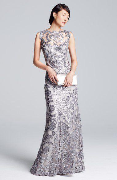 Tadashi Shoji Sequin Lace Mermaid Gown (Regular & Petite ...