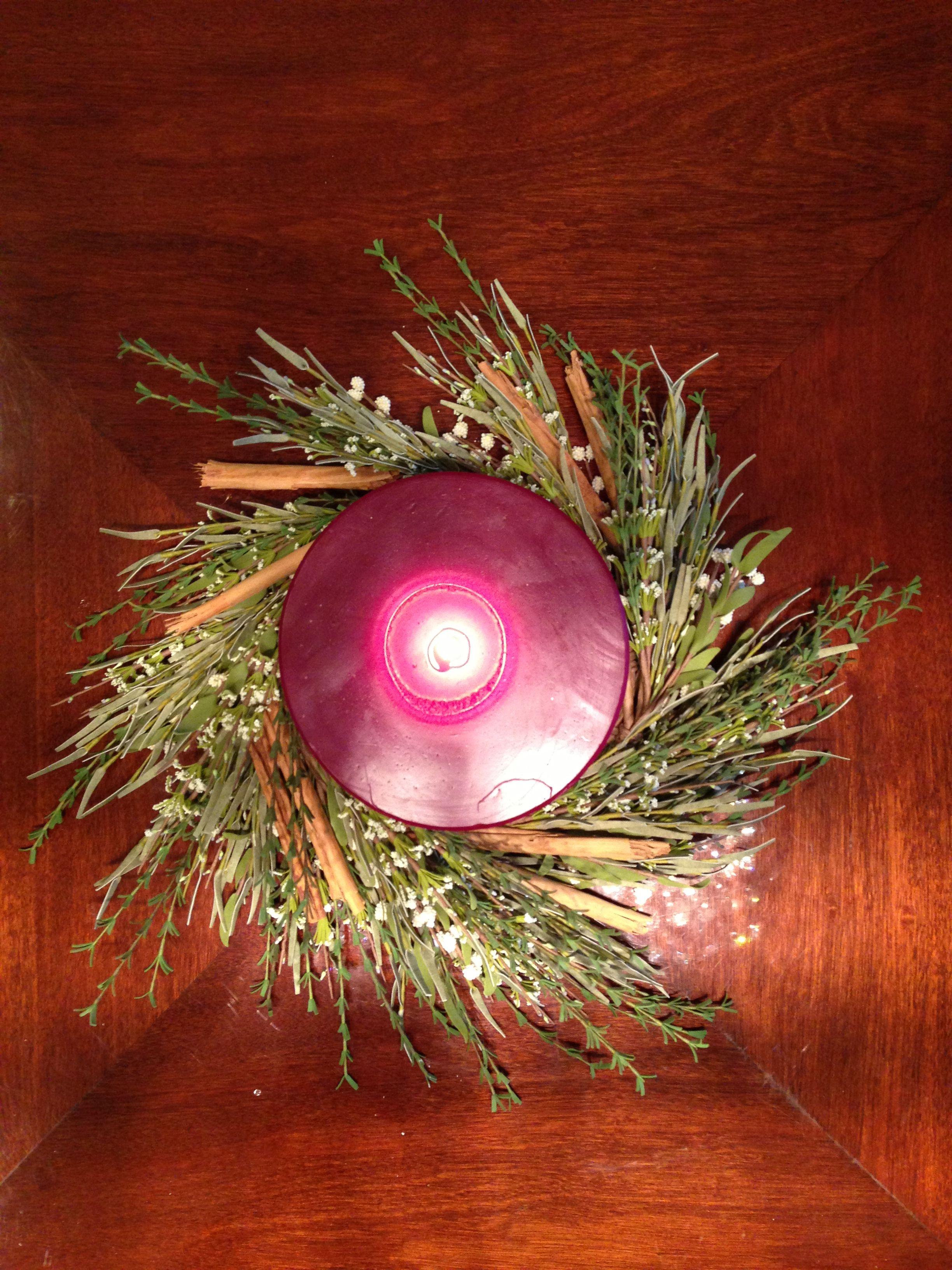Xmas candle Centro de mesa  Navidad  Vela