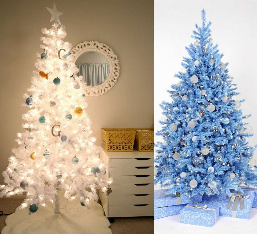 21 Christmas Decorating ideas that are not Red or Green white and blue Christmas tree