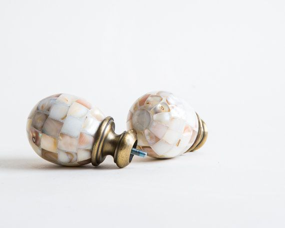 Pair Mother of Pearl Door Knobs Shell Mosaic Brass Fitting Seaside ...