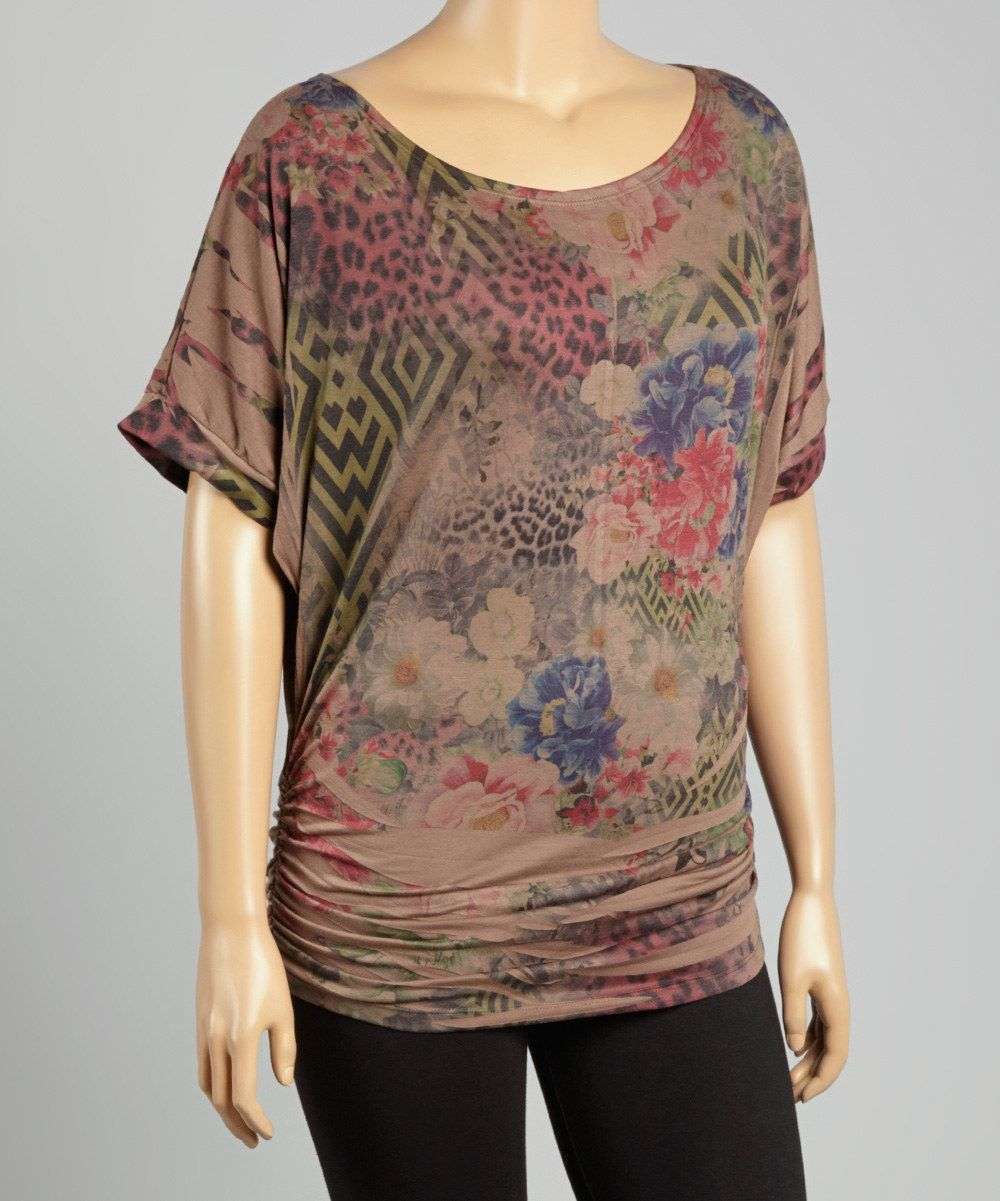 Look at this Mocha Floral Ruched Dolman Top - Plus on #zulily today!