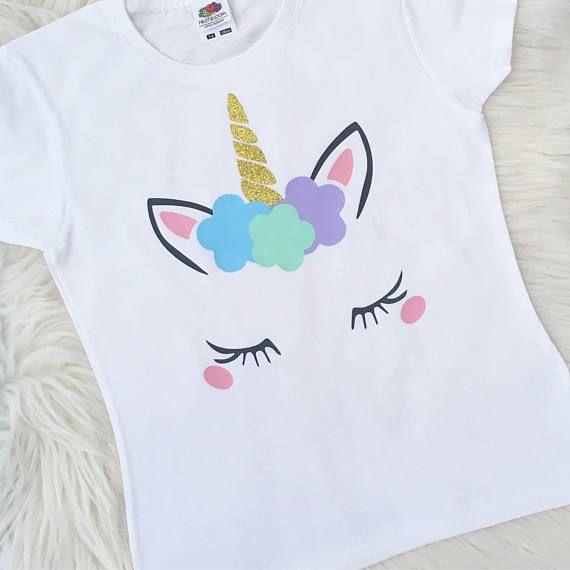 Personalised Gold Glittered Unicorn Any Name Girls T-Shirt Birthday Christmas