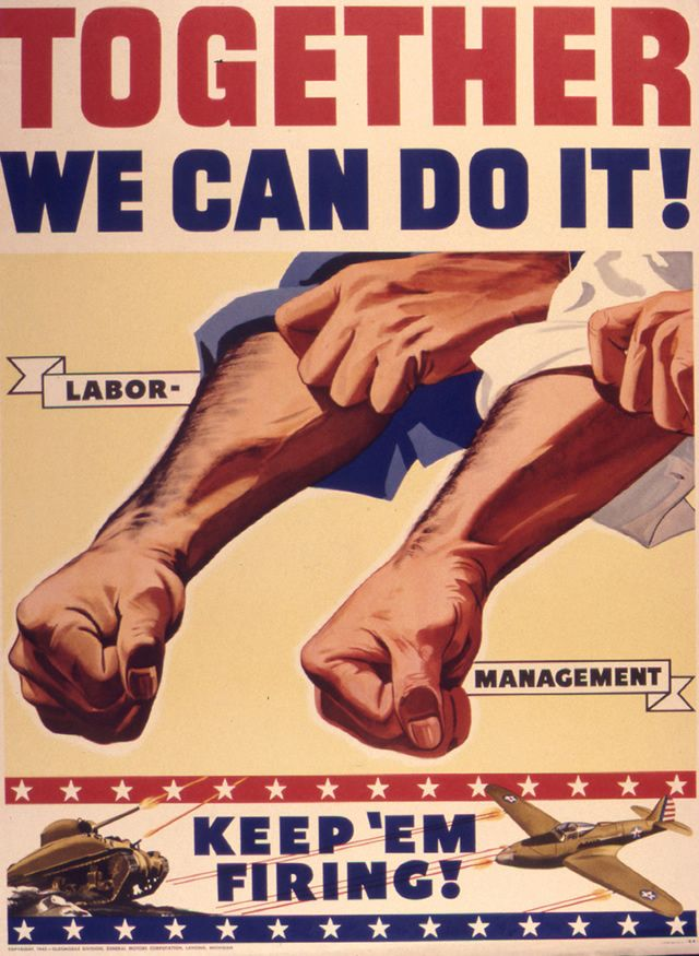 The World War II era propaganda poster advocates sticking together ...