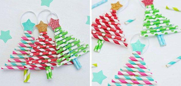 Adornos caseros para el árbol de Navidad para hacer con niños   Manualidades,  Adornos caseros, Adornos navideños