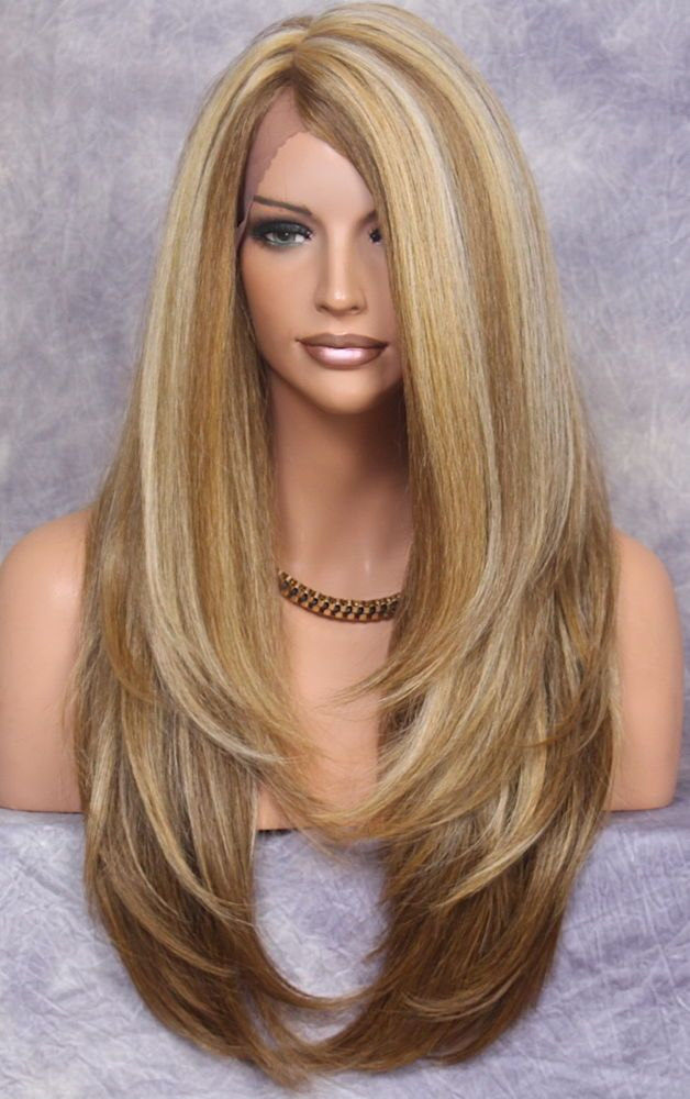 Human Hair Blend Full Lace Front Wig Heat Ok Long Straight Jsla Blonde Mix 2216 Long Hair Styles Long Straight Hair Long Layered Hair