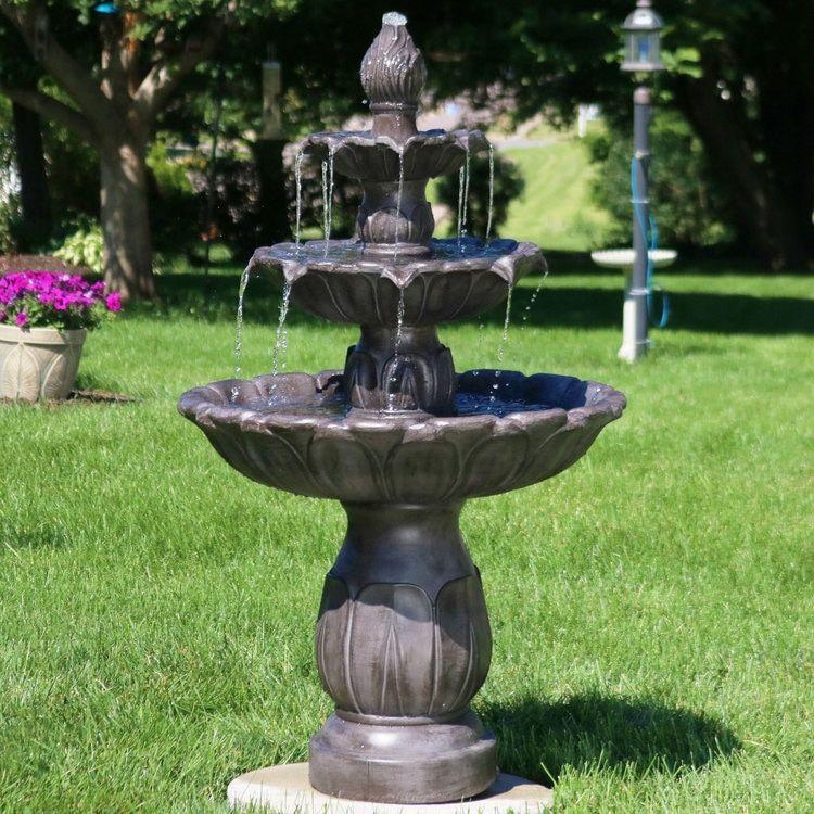Sunnydaze Classic Tulip 3 Tiered Outdoor Water Fountain, Dark Brown, 46 Inch Tall