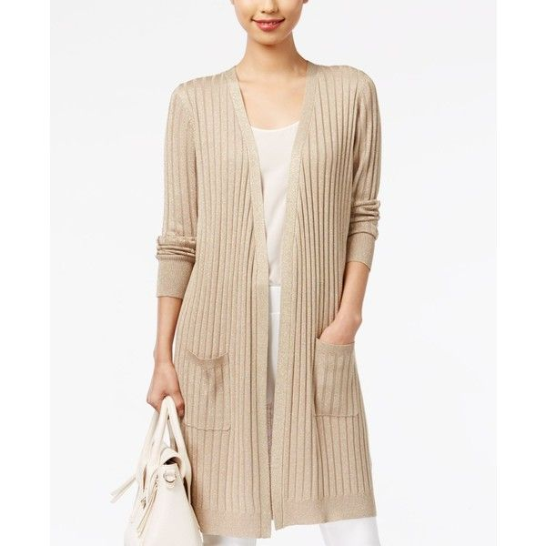 Joseph A Ribbed Metallic Duster Cardigan ($48) ❤ liked on ...