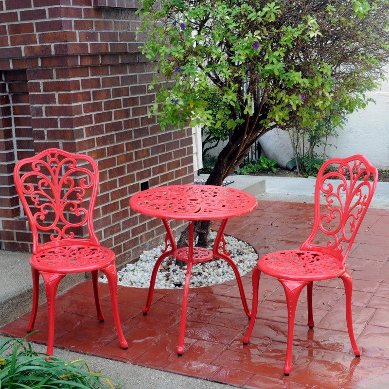 Outdoor Meadow Decor Red Daisy Aluminum Bistro Set S105 Net