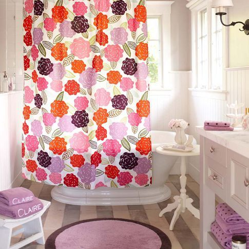 Chloe Floral Organic Shower Curtain Pbteen Girl Bathrooms