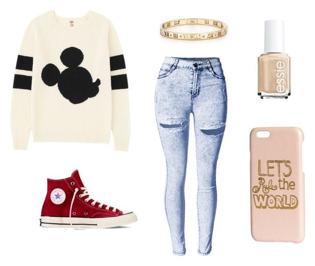 """""""Week Before Finals"""" by kittykitkat132 ❤ liked on Polyvore featuring Uniqlo, Converse, H&M, Essie and Tiffany & Co."""
