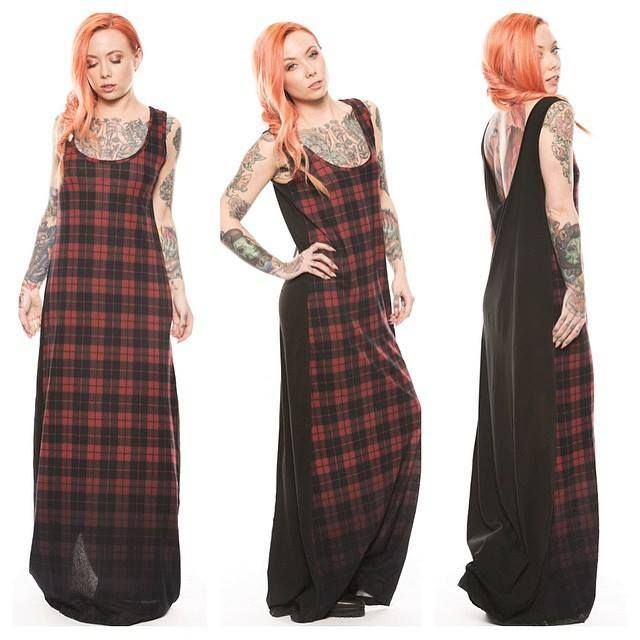 The beautiful Megan Massacre in a long Plaid Dress