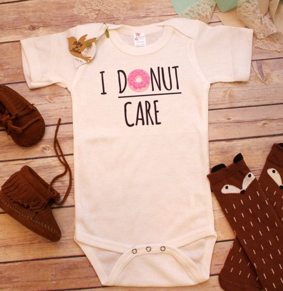 I Donut Care Baby Onesie® (or Toddler Shirt) Funny baby boy (or girl) bodysuit with adorable glazed donut (with sprinkles) drawing and I Donut Care