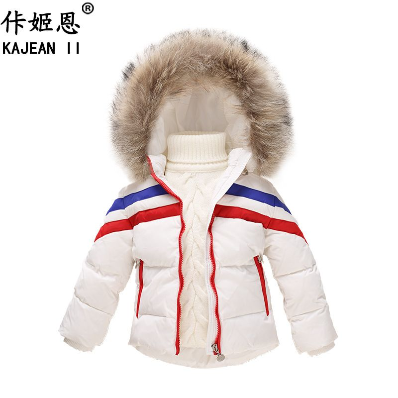 b8fa75e26 Click to Buy << KAJEAN II Russian Children White Duck Down jackets Winter  Detachable Hood Boys Coat Fur Collar Girls Kids Parkas Outwear TZ180  #Affiliate