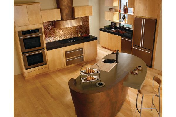 Kitchen, Small And Minimalist Kitchen Set With Oil Rubbed Bronze Kitchen  Appliances And Solidwood Floors A Unique Shape Kitchen Island With Single  Chair ...