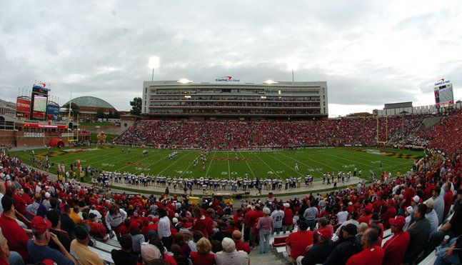 Bryd Stadium For A Home Football Game In A Sea Of Red Football Stadiums Stadium Tour College Park