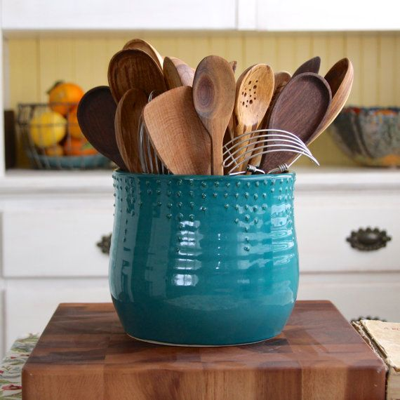 Extra Large Kitchen Utensil Holder   Custom Color Choices   Dark Teal    Hand Thrown Vase   Modern Home Decor   MADE TO ORDER