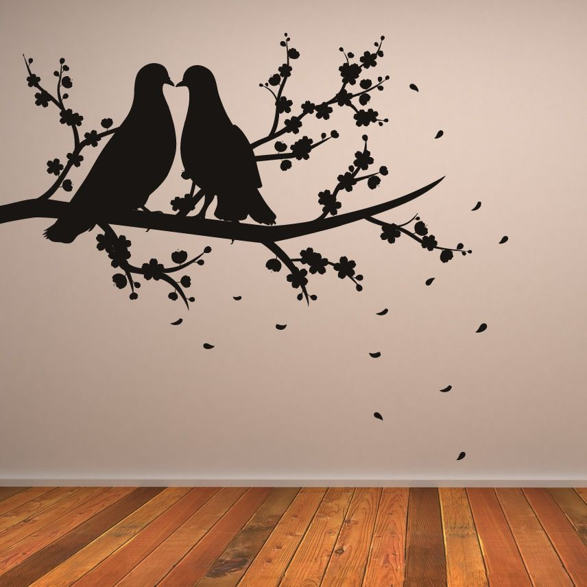 Nature wall art about two birds on branch nature wall art sticker
